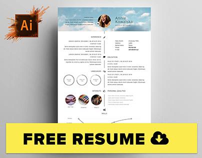 Free Minimalistic Resume/CV Timeline - Illustrator