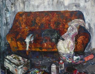 My studio, oil on canvas, 190/160 cm.