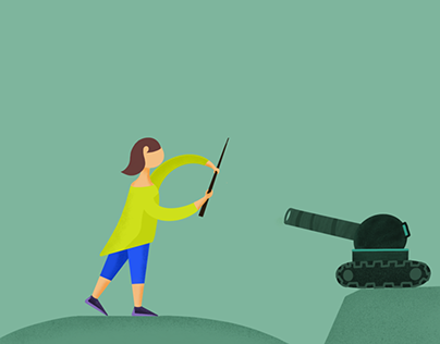 Girl defending with tank - Illustration