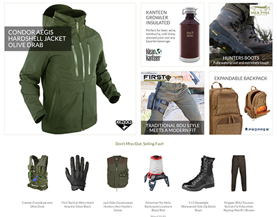 Military 1st responsive ecommerce website design & UX