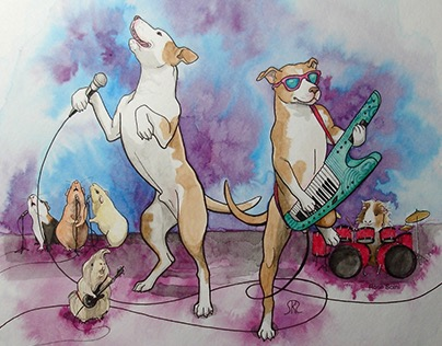 Pet Illustration Pit Bull Band