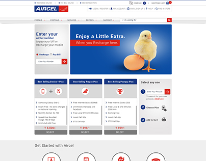 Aircel Ecommerce visual design