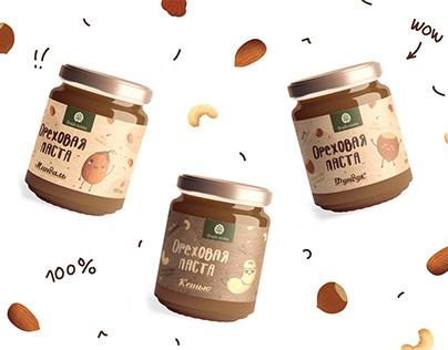 Этикетка для ореховых паст/ Packing Nut Pastes