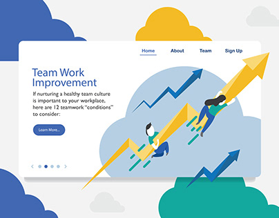 Landing page design in business concept