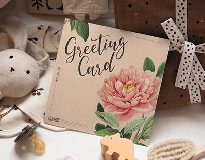 Free Realistic Square Greeting Card Mockup