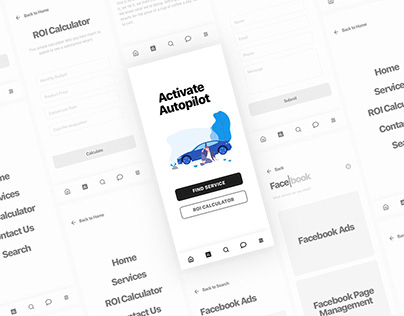 Clean Wireframe for Marketing Firm App