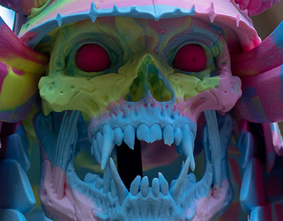 Dragon Samurai Skull - marble IceCream Swirl