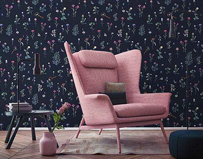 Botanical wallpaper design for FALRA MAGYAR!