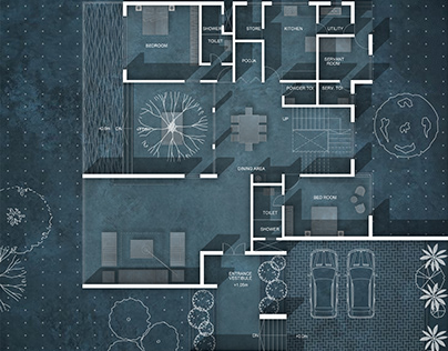 Abstract plan rendering using photoshop
