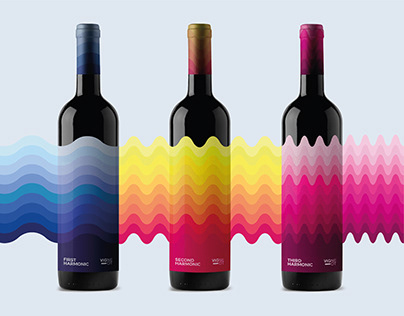 Wine Label - 3 Bottles Design