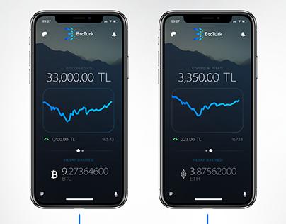 BTCTurk Bitcoin Exchange iPhone X Mobile App Concept V2