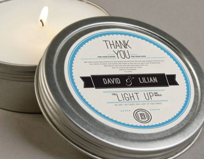 Wedding gift candle packaging