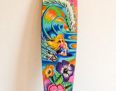 Longboard personalizado , caricatura niña y su peluche