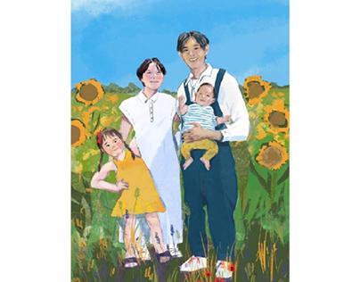 Family Portrait in a Field of Sunflowers