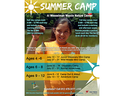 Summer Camp advertisement flyer for nature center