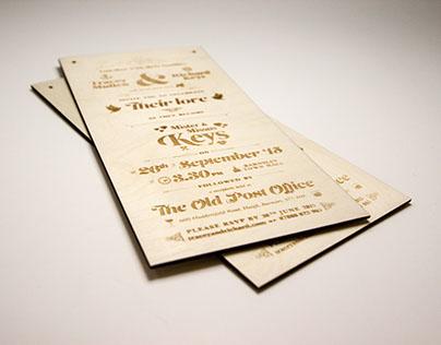 Laser Etched Wedding Invite & Website