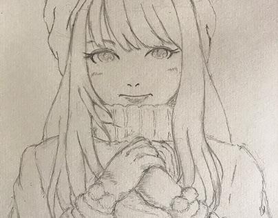 ラフ鉛筆描き