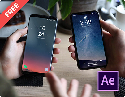 iPhone X & Samsung s8 Video Mockup Kit+ Free Template