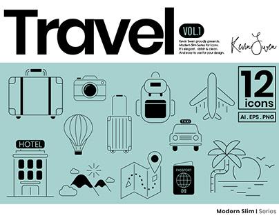 Travel Icons Set | Modern Slim Series