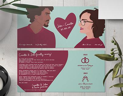 Bespoke Wedding invitation & illustration by C. Obligis