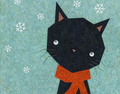 Cat and snow / hand-drawn