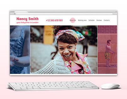 Nanny Smith landing page on wordpress