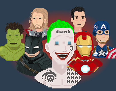 Pixel Superheroes Gif