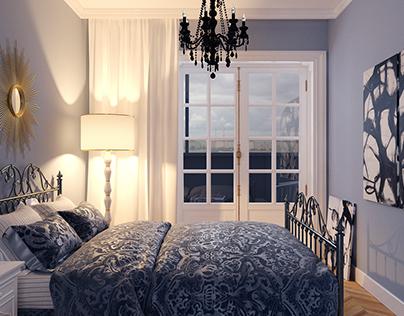 Interior design of a one-room apartment.