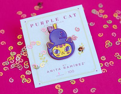 Purple Cat Metalic Pin