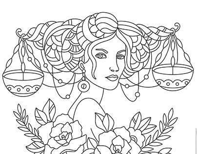 Anti-stress coloring books adult. Signs of the Zodiac