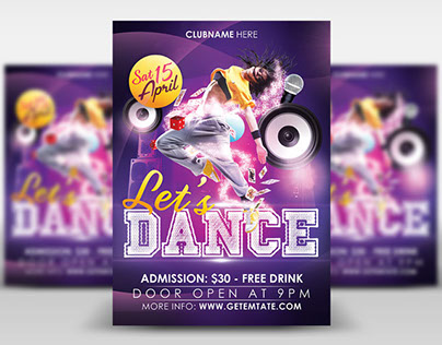 """Free PSD Flyer Template """"Let's Dance"""""""
