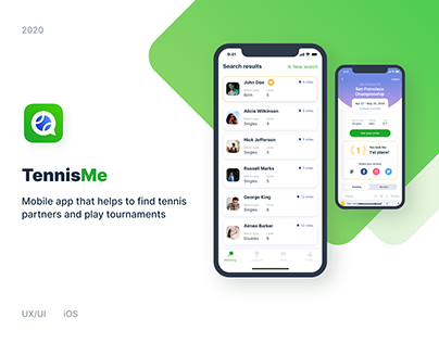 TennisMe - iOS mobile sport app for tennis players