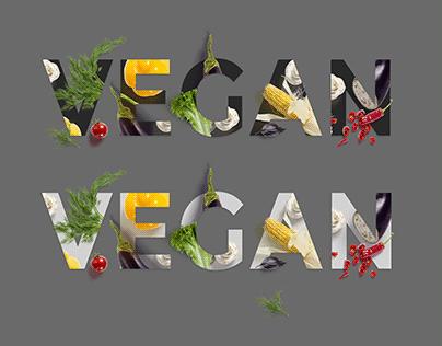 Vegan text Mockup. Print & Web
