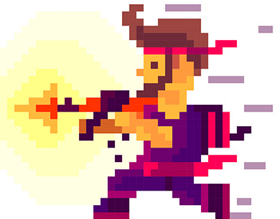 Vector illustration. Soldier in pixel art style