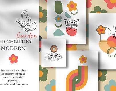 Mid Century Modern Garden Floral set