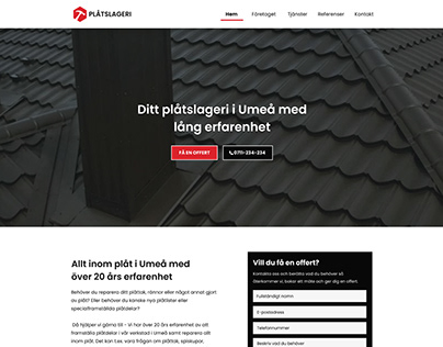 Roofing / Tin smith company website concept
