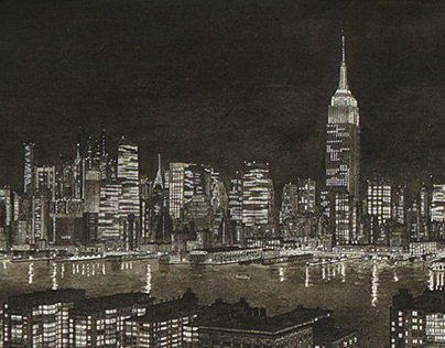 Hoboken, The Hudson and Manhattan at Night