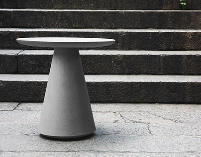 A Eco-friendly Side Table with Concrete-like Texture