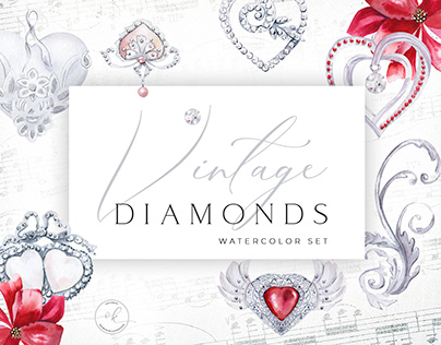 Watercolor Vintage Diamonds and Elements