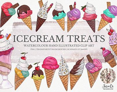 Icecream Treats Clipart Set