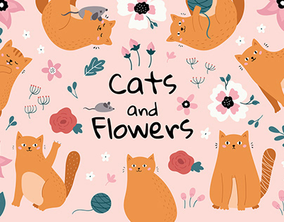 Funny Cats and Flowers