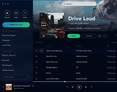 Spotify Re-Design Free Sketch