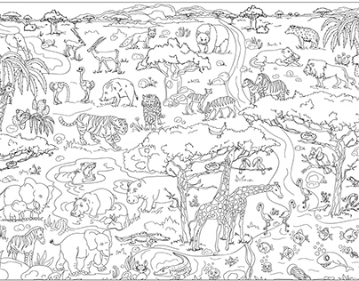 Big coloring book for kids. Africa.