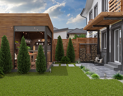Country house landscaping in suburbs of Kyiv