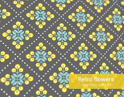 RETRO FLOWERS - 8 seamless patterns