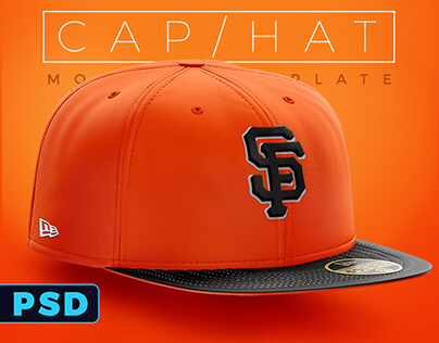 Flat Brim Hat Fitted & Snapback Photoshop mockup.