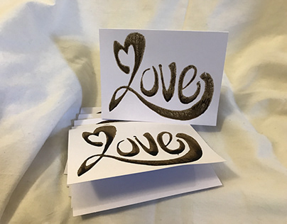 Hand drawn stamped cards: Love