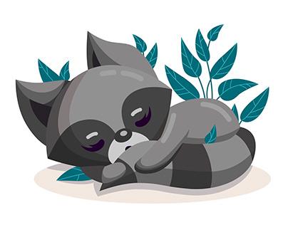 cute sleeping raccoon sleeping under a bush