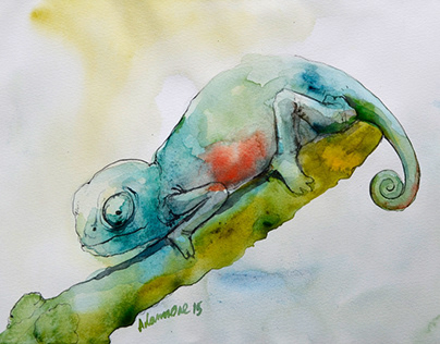 Chameleon Watercolor Paintings