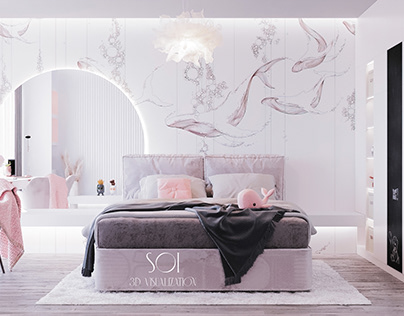 """Bedroom for two girls""""In a pink haze"""""""